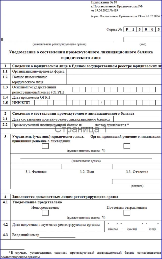 пакет документов для ликвидация ооо